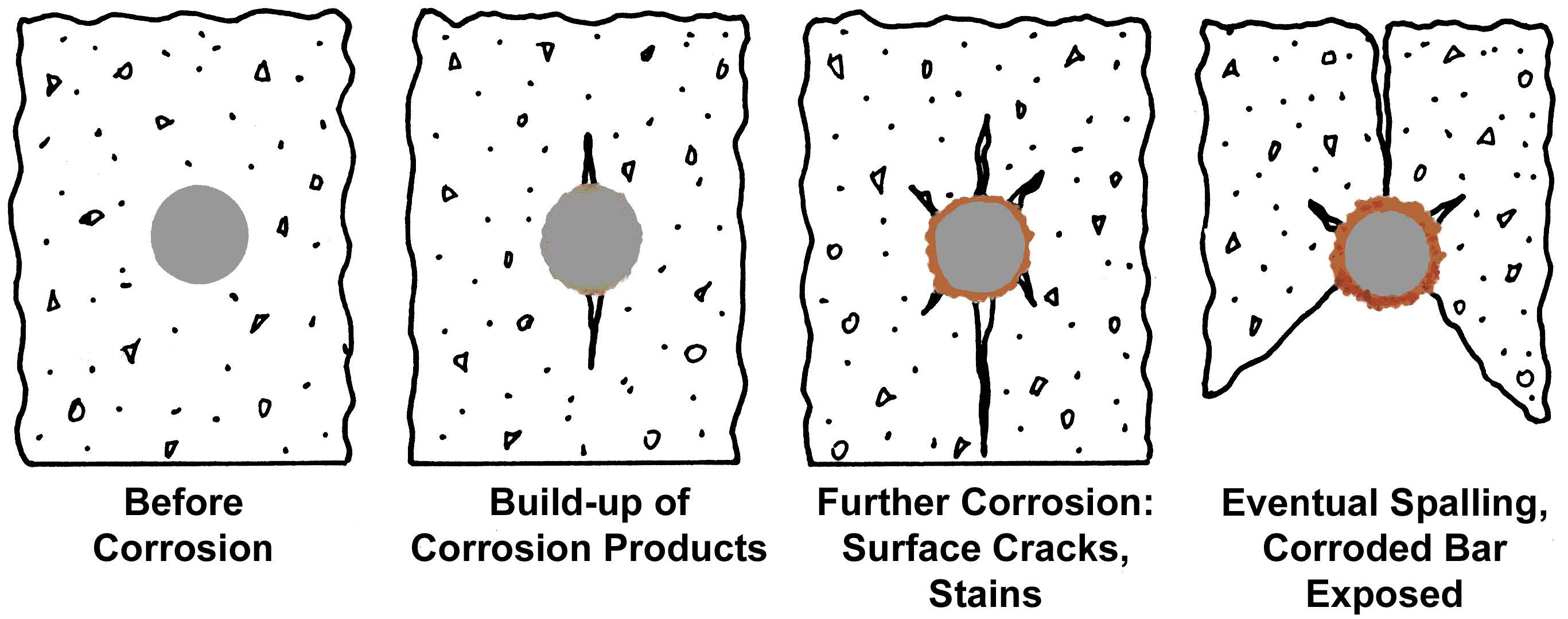 corrosion of reinforced concrete Abstract studies were made to determine the cause of accelerated corrosion of reinforcing steel in a concrete bridge in a salt water environment there was good reason to believe that macro-galvanic corrosion was involved resistivity and corrosion cell ratio charts indicate that the resistivity.