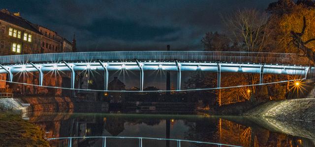 Pedestrian footbridge over the Elbe in Jaroměř, Czech Republic